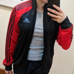 Adidas track jacket red and black